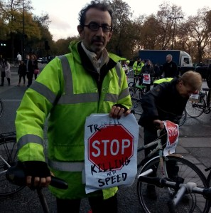 Nic at the 'National Funeral' road safety protest in November 2014